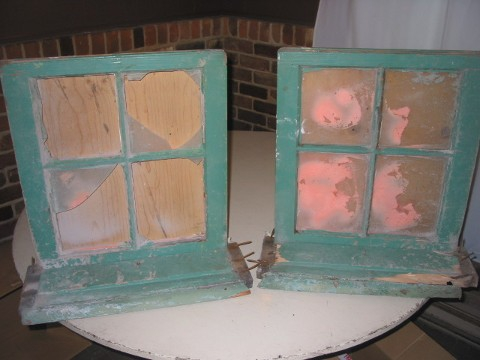 2 Old Pine Wood Windows
