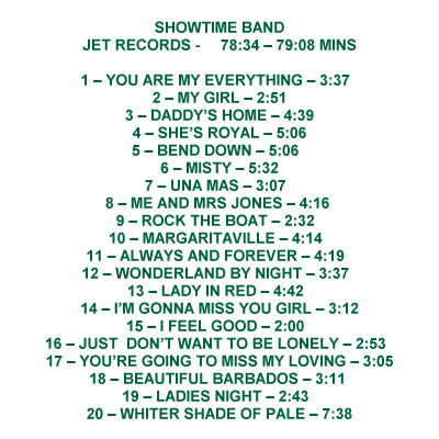 Showtimw CD track list